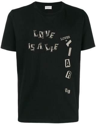 Saint Laurent slogan-print cotton T-shirt