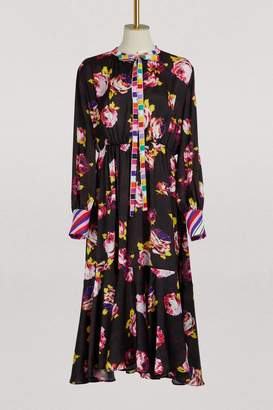 MSGM Flowers printed long dress