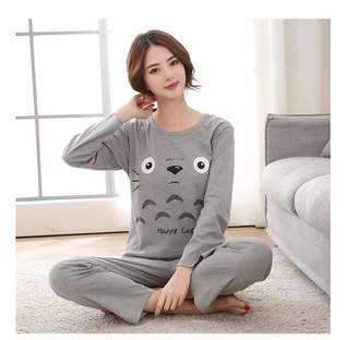 Hangwucha New Cute Set Woman 100% Cotton Kawaii Totoro Cartoon Sleepwear  Nighty Female Casual Autumn 2eb46cdf6