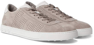 Tod's Perforated Suede And Leather Sneakers