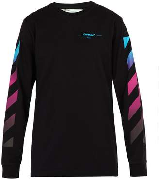 Off-White Diagonal gradient long-sleeved cotton T-shirt