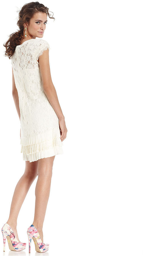 Jessica Simpson Cap-Sleeve Lace Drop-Waist Dress