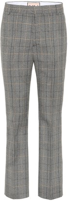 Plan C Mid-rise straight wool-blend pants