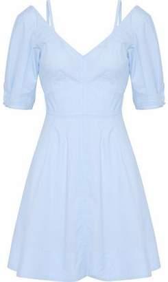 Derek Lam 10 Crosby Cold-Shoulder Flared Cotton-Poplin Mini Dress