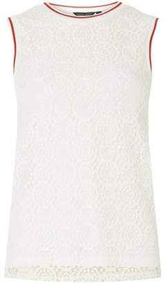 Dorothy Perkins Womens Ivory Ribbed Lace Shell Top