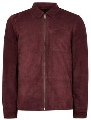 Topman Mens SELECTED HOMME Burgundy Suede Jacket