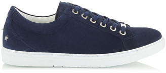 Jimmy Choo CASH Navy Fine Suede Low Top Trainers