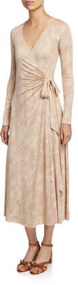 Rachel Pally Harlow Snake-Print Long-Sleeve Jersey Midi Wrap Dress