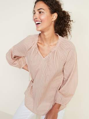 06773eab4336f1 Old Navy Ruffled Tie-Neck Shadow-Stripe Blouse for Women