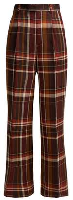 Acne Studios High Rise Checked Wool Blend Trousers - Womens - Brown Multi