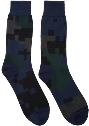 Sacai Black & Navy Camouflage Socks $40 thestylecure.com