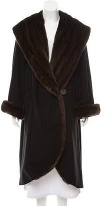 Couture Bisang Mink Fur-Trimmed Long Coat
