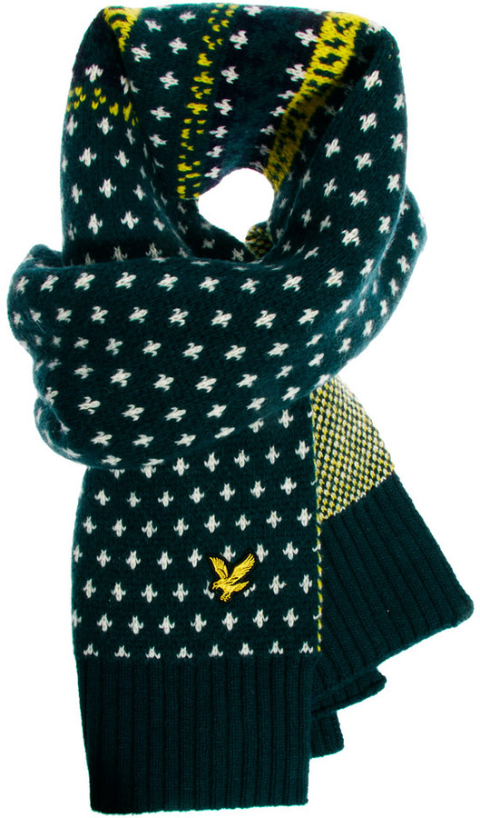 Lyle & Scott Fairisle Scarf - Green