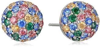 Swarovski Platinum-Plated Sterling Zirconia Multi-Color Round Dome Stud Earrings