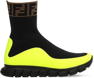 Fendi Logo Jacquard Knit Sock Sneakers