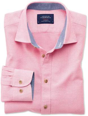 Charles Tyrwhitt Slim Fit Washed Textured Pink Cotton Casual Shirt Single Cuff Size Large