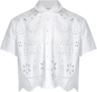 REDVALENTINO Sangallo cropped cotton shirt $375 thestylecure.com