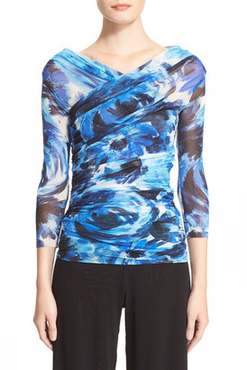 Fuzzi Floral Print Ruched Tulle Blouse $345 thestylecure.com