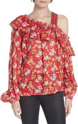 Derek Lam 10 Crosby One-Shoulder Floral Blouse