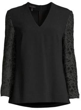 Escada Namderv Lace-Sleeve V-Neck Blouse