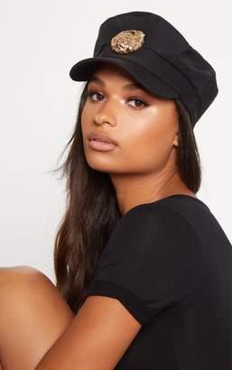 PrettyLittleThing Black Lion Baker Boy Hat