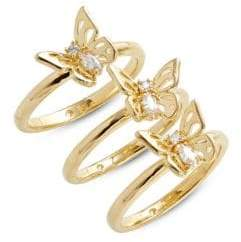 Kate Spade Three-Piece Butterfly Ring Set