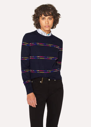 Paul Smith Women's Navy Wool-Blend Sweater With Stripe Detail