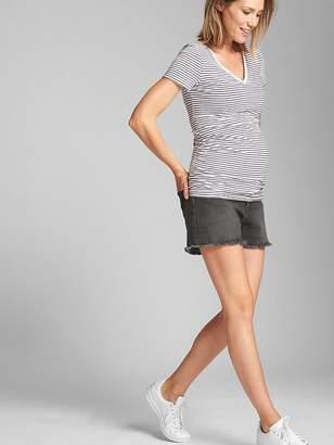 Gap Maternity Inset Panel Denim Shorts with Raw Hem