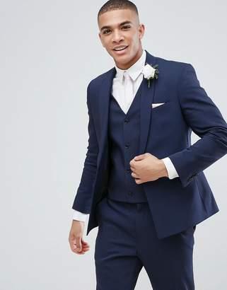 Asos DESIGN Wedding Skinny Suit Jacket With Square Hem In Navy