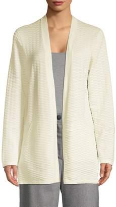 Eileen Fisher Textured Silk Cotton Blend Open-Front Cardigan