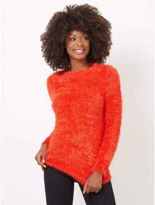 George Orange Eyelash Texture Jumper