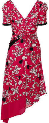Self-Portrait Asymmetric Floral-print Crepe De Chine Midi Dress - Fuchsia