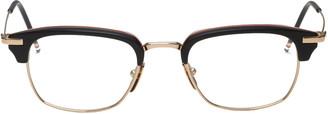 Thom Browne Black & Gold Horn-Rimmed Glasses $650 thestylecure.com
