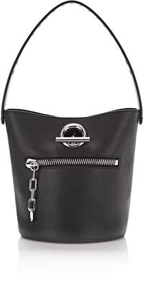 Alexander Wang Riot Bucket Bag In Pebbled Black With Rhodium