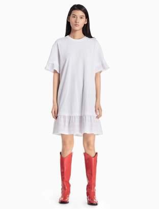 Calvin Klein cotton knit lace trim dress