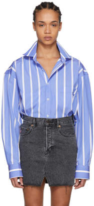 Vetements Blue and White Stripe Fold-Up Cropped Oversized Shirt