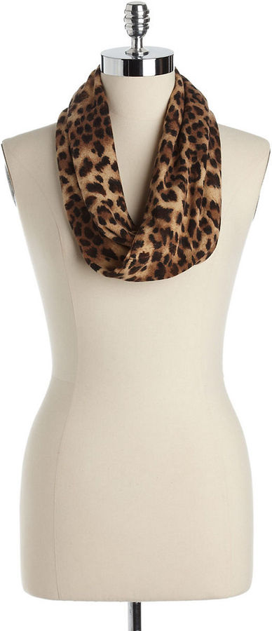 MADISON 88 Leopard Print Twisted Infinity Scarf
