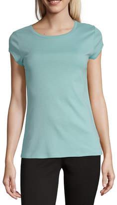 Liz Claiborne Short Sleeve Round Neck Knit Tee - Tall