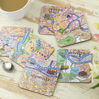 Emmeline Simpson Set Of Six Bristol Map Coasters
