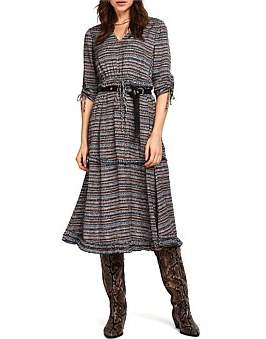 Maison Scotch Midi Length Dress With V-Neck And Ruffles