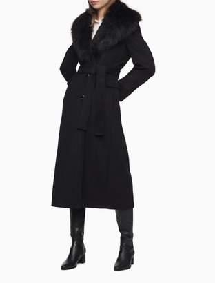 Calvin Klein Wool Blend Faux Fur Shawl Collar Coat