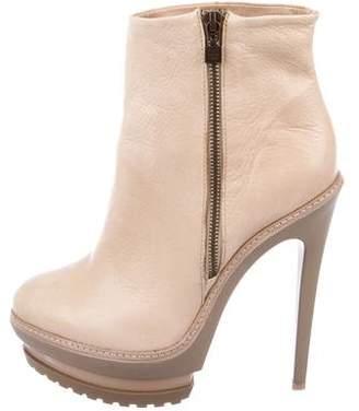 Herve Leger Platform Leather Ankle Boots