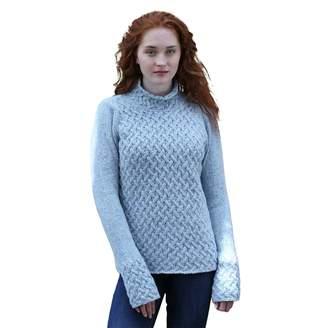 The Irish Store - Irish Gifts from Ireland Ladies 100% Irish Merino Cashmere Wool Sweater with Trellis Stitching