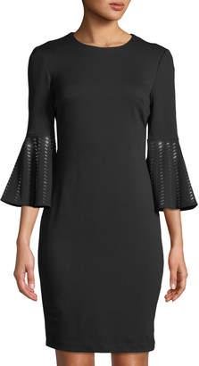 Iconic American Designer 3/4-Sleeve Crystal-Cuff Sheath Dress