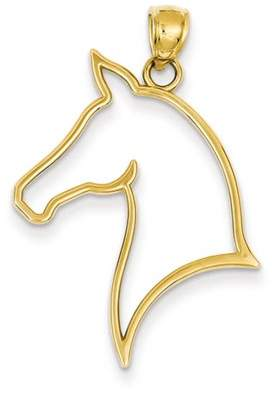Black Bow Jewelry Company 14k Yellow Gold Horse Head Silhouette Pendant