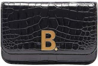 Balenciaga B Embossed Croc Continental Chain Bag in Black | FWRD