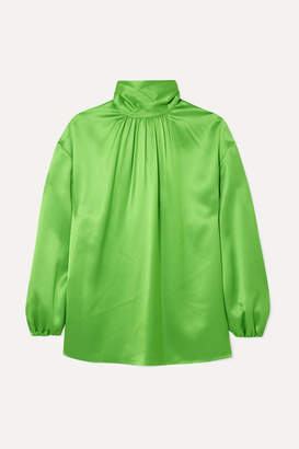 Prada Gathered Neon Silk-satin Blouse - Green