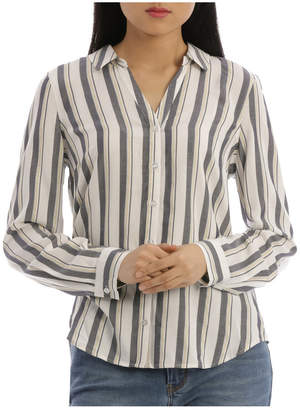 Regatta 3/4 Sleeve Lurex Stripe Curved Hem Shirt