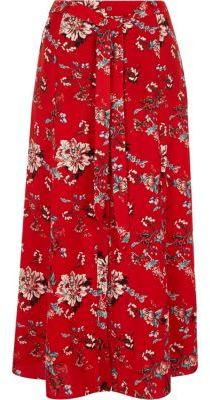 River IslandRiver Island Womens Red floral print maxi skirt