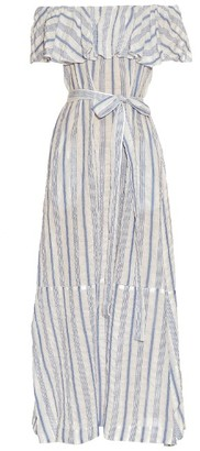 LISA MARIE FERNANDEZ Mira off-the-shoulder striped maxi dress $911 thestylecure.com